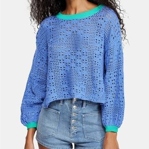 FREE PEOPLE PERIWINKLE HOME RUN CROPPED SWEATER
